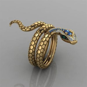 Wholesale golden rings resale online - Fashion Steric Golden Zircon Snake Opening Adjustable Ring Men Women Punk Hip Hop Pary Jewelry Accessories Gift T2