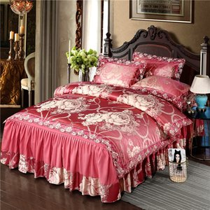 Wholesale red blue king size bedding for sale - Group buy All season Satin Jacquard Lace Red Golden Luxury Bedding Queen size King Duvet cover Bed Set Ruffled Bedskirt Pillow shams
