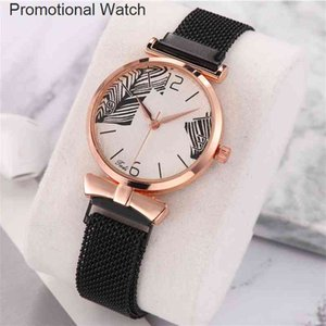 Wholesale small round magnets for sale - Group buy Small lady style leaf pattern quartz fashion temperament magnet with ladies bracelet watch