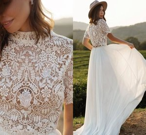Wholesale summer bohemian boho wedding gown for sale - Group buy Two Pieces Summer Beach Boho Wedding Gowns High Neck Bohemian Lace Rustic Country Chiffon A Line Bridal Dress Sweep Train Short Sleeves robes de mariée AL8918