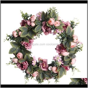 Wholesale weddings venues resale online - Wreaths Festive Supplies Garden Drop Delivery Artificial Camellia And Roses Wreath For Front Door Window Wall Party Wedding Venue Layout