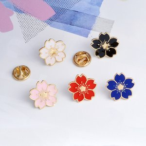 Wholesale dark pink brooch for sale - Group buy Flower dark blue white black red pink flower pretty five petals personality ornament brooch lapels ornament combination W2