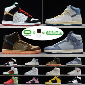 pulseras deportivas al por mayor-Pulsera calcetines caja original SB Dunk High Strawberry Cough Strawberry Cough Paul Rodriguez Invert Celtics Varsity Maize casual sports skateboard shoes