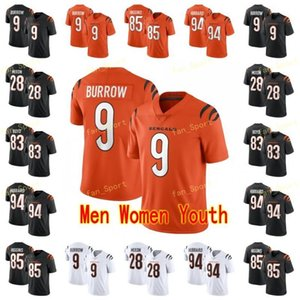 orange 83 jersey großhandel-Männer Frauen Jugend Joe Burrow Football Trikots Joe Mixon Tyler Boyd T Shirt Higgins Sam Hubbard Orange Black White genäht
