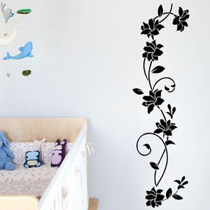Wholesale vine art for wall resale online - Flower Vine Bathroom Wall Decals Art Home Decoration Stickers For Toilet Removable Diy