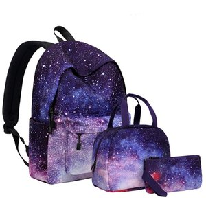 Wholesale stars table resale online - Outdoor Sports Travel Shoulder Bags Set Starry Sky Star Backpacks Lunch Bag Pencil Case Purse Picnic Rucksack for Student