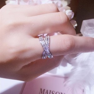 Wholesale pure silver 925 rings resale online - Size Pure Soild Sterling Silver Luxury Jewelry White Topaz CZ Diamond Gemstones Cross Ring Women Wedding Band Rings Gift