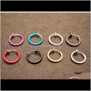 Wholesale nose piercings hoops for sale - Group buy Rings Studs Delivery Fake Nose Hoop Ring Ear Septum Lip Navel Earrings Body Non Piercing Black Jewelry Drop Ps2865 Ma7Ib