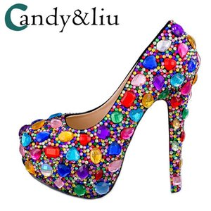 ingrosso tacchi alti-Pompe da donna Pompe colorate Strass Super Super Selex Tacchi cm Nightclub Shoes Personalizzato Big Size Regalo per festival Celebrations Dress