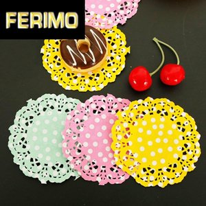 ingrosso tovagliette usa e getta-100pcs Polka Dots Laccio Carta Dilometri Cake Mat Decoupage Placemat Tovagliolo Pads Party Wedding Decoration Decorazione Dinnerware monouso