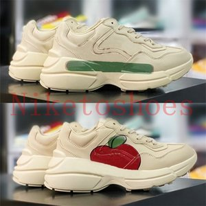 Wholesale green apples for sale - Group buy Rhyton Sneaker Italy Designers Shoe apple strawberry duck mouth print Luxurys Shoes Red Green ivory leather thick sole s casual chunky Sneakers