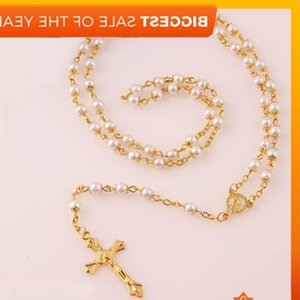 Wholesale white rosary resale online - White Pearl Gold Rosary Bead Chain Religious Jesus Cross Necklace for women mm Promotion Price New Hot