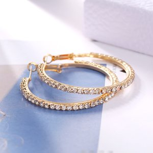 Wholesale men's hoop earrings for sale - Group buy 2017 Top Popular Earrings With Rhinestone Circle Simple Earrings Big Circle Gold Color Hoop Earrings For Women E005 H6Rl6 F2Uvz W2