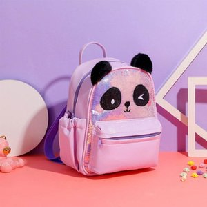 Wholesale kid backpacks resale online - Kids School Backpack Sequins Schoolbag Cute Panda Children Book Bag For Girls M68C Bags