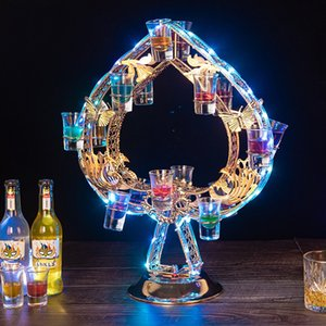 Wholesale bar lights wine glasses resale online - LED Rechargeable Cocktail Tray Glass Cup Holder Flashing Light Up Whisky Red Wine Rack For Bar Disco Club Party Supplies