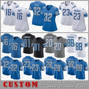 camisa de futebol 32 venda por atacado-16 Jared Goff Football Jersey Jeff Okudah d andre Swift T J Hockenson Barry Sanders Adrian Peterson Kerryon Johnson Custom Dos Homens Mulheres Detroit