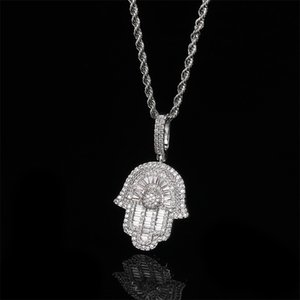 ingrosso pendente di collana per i ragazzi-Gold Color Hip Hop Iced Out Bling Uomo Boy Jewelry Hiphop Rock Punk Ice Baguette CZ Hamsa Mano Fatima s Pendant Collana pendente Q2
