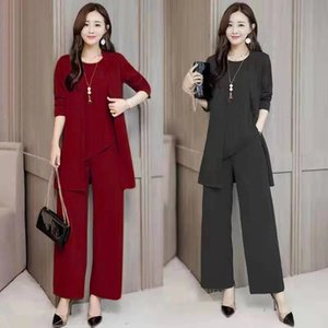 Wholesale sleep coats resale online - Women s Autumn And Winter Suit Western Style Slimming Coat Tshirt Pants Fashion Three Piece Sets