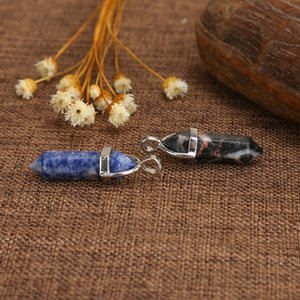 Wholesale coin necklaces resale online - stone crystal agate bullet hexagon Necklace Pendant Natural Quartz coin