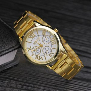 Wholesale geneva watches for sale - Group buy Fashion Womens Wrist Watches Geneva Designer Casual Ladies Quartz Watch Female Golden Stainless Steel Band Montre Femme Gift Wristwatches