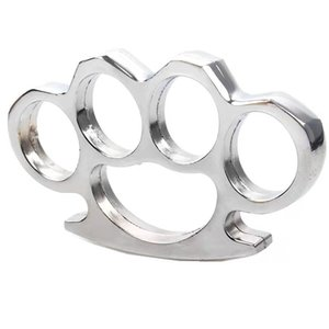 Wholesale thick brass knuckle dusters resale online - LRKC Gilded Thick m Steel Brass Knuckle Duster Color Black Plating Sier Hand Tool Clutch High Qlity qd W