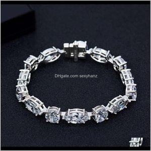 Wholesale full hand bracelets for sale - Group buy Charm Bracelets Drop Delivery Shipai Simulation Full Diamond Sterling Sier Bracelet Simple Versatile Geometric Hand Jewelry Iyvuu