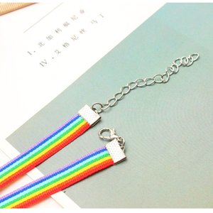 Wholesale rainbow choker necklace resale online - Gay Pride Rainbow Choker Necklace LGBT Gay and Lesbian Pride Lace Chockers Ribbon Collar with Pendant Statement Jewelry for Men Women N2