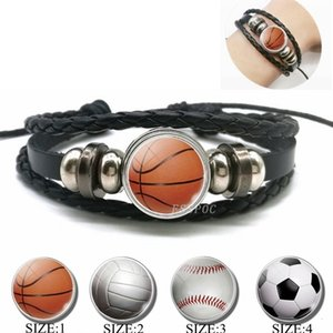 Wholesale golf bracelets for sale - Group buy Basketball buckle woven volleyball football tennis golf Leather Bracelet men s jewelryOZMICI8D