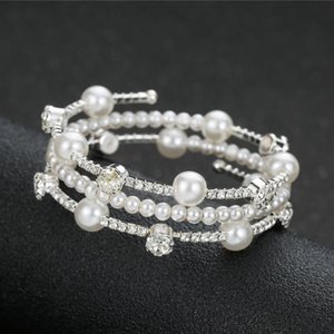 Wholesale pearl cuff bracelet bridal for sale - Group buy Korean Style Bridal Simulated Pearl Bracelet Open Cuff Multilayers Rhinestone Elegant Wedding Party Jewelry Gift Link Chain