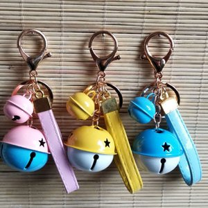 Wholesale car two color resale online - Two Color Metal Bell Key Ring Creative Gift Chain Pu Leather Rope Car Bag Pendant