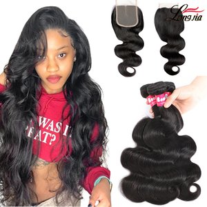 Brazilian Body Wave Human Hair Bundles With Lace Closure 4x4 Lace Closure With Straight Hair Bundles loose deep water Wave