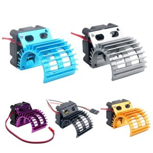 Wholesale radiators for cars resale online - Motor Heat Sink Radiator With Cooling Fan For HSP RC Car Motor Gray Fans Coolings