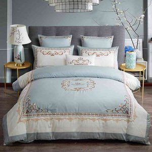 Wholesale queen king crowns resale online - Luxury Egyptian Cotton Chic Crown Embroidery Duvet Cover Blue White Patchwork Queen King size Bedding Bed Sheet Set