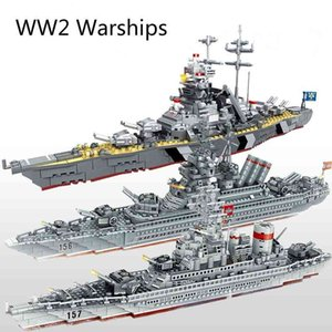 ingrosso giocattoli da guerra-WW2 Serie militare Warships Series Building Blocks Battleship Model WW2 Military Soldier Weapon Toys