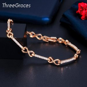 Wholesale infinity stones resale online - ThreeGraces Fashion Infinity Number Link Chain Bracelets Gold Color Shiny CZ Stone Bracelet Women Jewelry BR137 Link