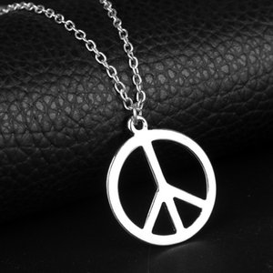 ingrosso simbolo della pace-New Fashion Peace Symbol Pendants Round Cross Catena Cross Breve Long Mens Donne Argento Collana Collana Collana Gioielli Regalo Q2