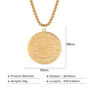 Wholesale gold chain pendant design latest resale online - Chain Men Latest Nordic Viking Necklaces Round Pendant Amulet XSS83004 Talisman Stainless Steel Gold Long Necklace Runes Design Box Jew Lmbm