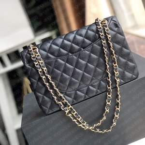 Wholesale crossbody leather bags for sale - Group buy Ladies black calfskin caviar classic Diamond quilted bag chains double flap medium size cm Genuine Leather crossbody shoulder bags famousbags bolsa de hombro