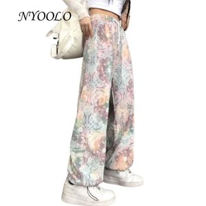 Wholesale tie dye patterns resale online - Harajuku Design Starry Sky Rainbow Tie Dye Flowers Pattern Straight Pants Women Vintage Streetwear Elastic Waist Trousers Women s Capris