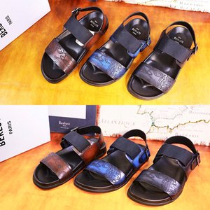 Wholesale european men summer shoes for sale - Group buy berluti Men sandals cowhide European and American fashion casual Korean lightweight Scritto Leather Sandal Designer Dust Bag Shoes Summer Wide Flat Slipper men s