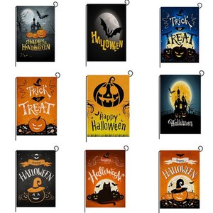 Wholesale outdoor halloween decorations resale online - 47 cm Halloween Garden Decoration Style Outdoor Flags Pumpkin Ghost Bat Flower Print Double Side Flag HHA556 A7AU