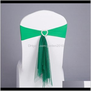 Wholesale garden party wedding decoration hearts resale online - Covers Textiles Home Garden Drop Delivery Muslin Chair Sashes Stretch Band With Heart Buckle Wedding Decor Party Decoration Eunht