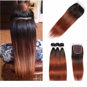 Wholesale 1b 33 ombre brazilian hair for sale - Group buy Brazilian Straight Ombre Human Hair Weave Bundles with Lace Closure Two Tone B Brazilian Auburn Virgin Hair Extensions With Closure