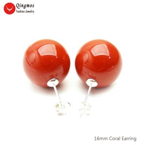 Wholesale red coral stud earrings for sale - Group buy Qingmos Natural Red Coral Earrings For Women With mm Round Earring Fine Jewelry Stering Silver Stud Ear724