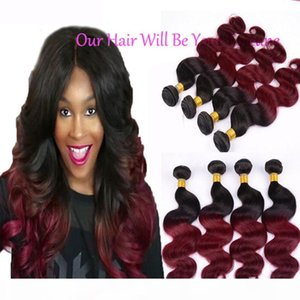 Wholesale mixed russian hair extension resale online - Peruvian Virgin Hair Body Wave Bundles B Burgundy Ombre Hair Extensions Mixed quot quot Red Hair Weave Peruvian Body Wave Hu