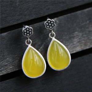 Wholesale fine c for sale - Group buy yutong C R Real Sterling Silver drop earrings for women Retro yellow chalcedony Thai earring female Fine Jewelry