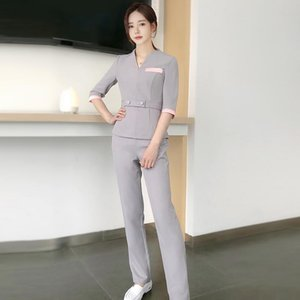 Wholesale massage pants resale online - Spa Salon Massage Women V Neck Uniforms Beauty Female Working Clothing Suits Sauna Foot Bath Workwear Sets Women s Two Piece Pants