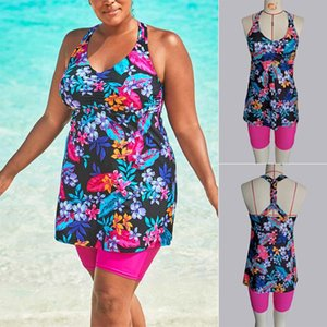 Wholesale roped bikini for sale - Group buy Plus Size Swimsuit Sexy Backless Braided Rope Covering And Shorts Bikini Set Tankini Floral Vest Suit Women Trajes Women s Swimwear