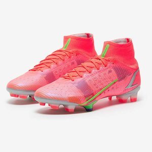 New Superfly 8 VIII 360 Elite FG CR7 Ronaldo Bright Crimson Metallic Silver Mens Women Boys High Soccer Shoes Football Boots Cleats US6.5-11