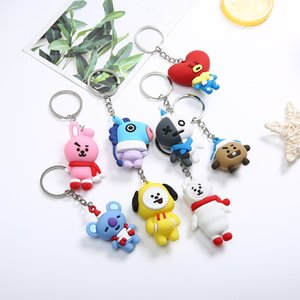 Wholesale bts doll resale online - South Korea BTS youth group stereo chain PVC soft plastic creative cute doll key pendant